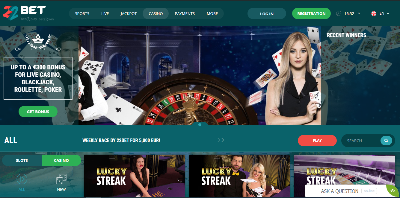 22Bet kazino razdel